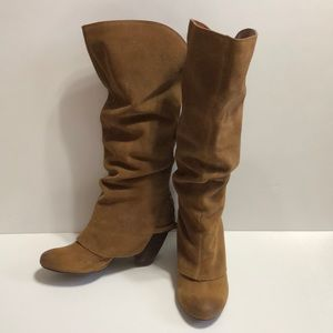 Naughty Monkey Camel Tan Suede Leather Slouch Boot